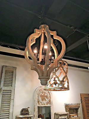 Gorgeous Boho French Crown Style  Gray White Wash Wood Pendant Chandelier