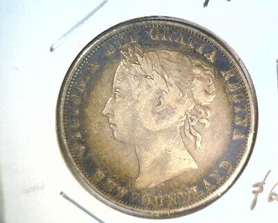 1900 Newfoundland Canada Silver 50 Cent Coin KM#6  Very Fine .3504 ASW Toned !