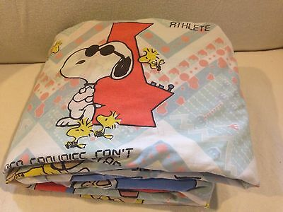~Vintage HTF Peanuts Snoopy Charlie Brown Fitted Full Sheet Fabric Video Game