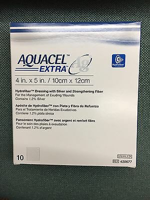 New And Improved AQUACEL AG EXTRA 4 X 5 (Box Of 10 Dressings)