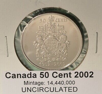 2002 Canada Fifty Cent - UNCIRCULATED - from original mint roll