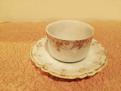 Vintage Nippon Hand Painted open sugar with underplate / saucer white gold