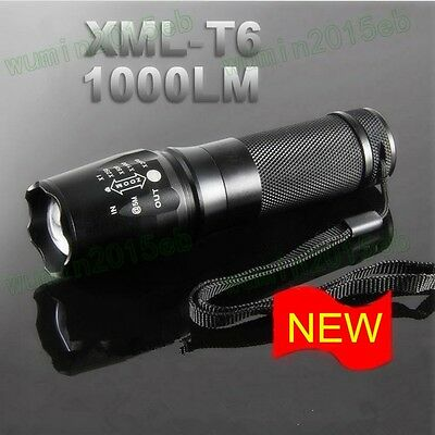 Outdoor Adventure Flashlight XML T6 LED Super Bright Torch Lamp 5 Modes Switch