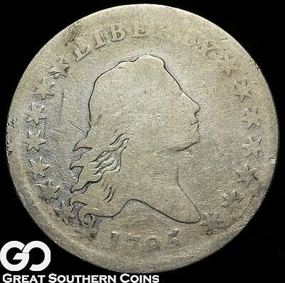 1795 Flowing Hair Half Dollar, Seldom Seen Early Silver Date, ** Small Eagle!