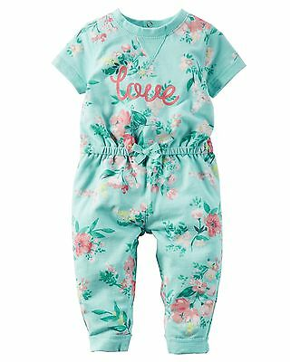 Carters Baby Girl Floral French Terry Jumpsuit Coverall Mint 9m 9 Month New