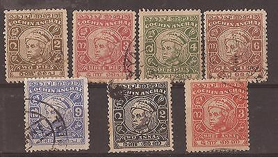 Cochin, 1948-50, short set to 3 Anna,used