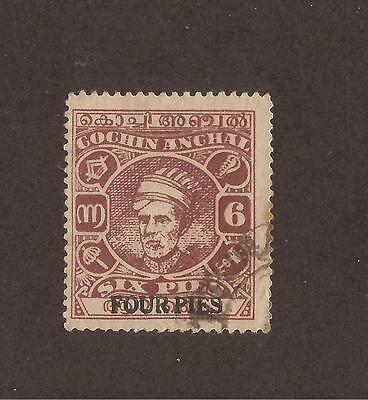 Cochin, 1944 Surcharge, 4p on 6p, used
