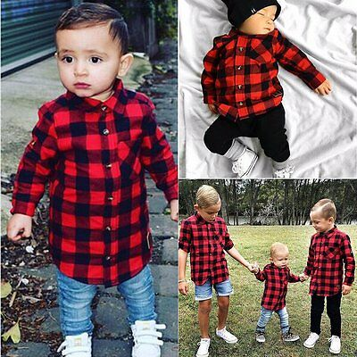 Toddler Kids Baby Boy Cotton Casual Long Sleeve Plaid T-shirt Top Blouse Clothes
