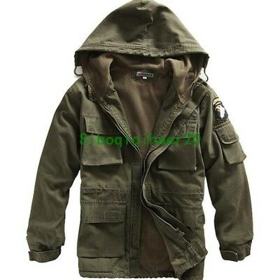 Mens Military Thicken Winter Fleece Thick Jacket Army Size Fashion Parka Coat