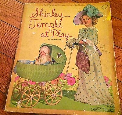 """Authentic 1930s """"Shirley Temple At Play"""" Large Color Picture Book"""