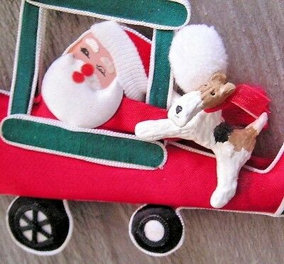 Wire Fox Terrier Fabric AIRPLANE with SANTA  Ornament!