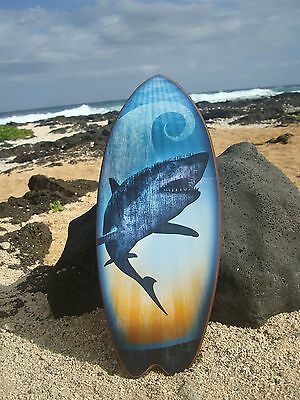 LARGE - GREAT WHITE SHARK SURFBOARD Ocean Blue Beach Sign Surfing Home Decor NEW