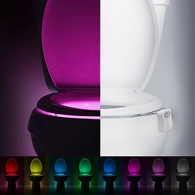 LED Toilet Bathroom Night Light Human Motion Activated Seat Sensor Lamp 8Color.