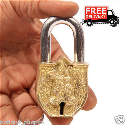 Brass Unique Handcrafted Lord Krishna & Radha Embossed 2 Key Padlock 6898A