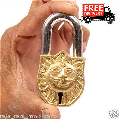 Brass Unique Handcrafted Lord Sun Engraved / Embossed 2 Key Padlock 6889A