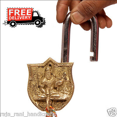 Brass Unique Handcrafted Lord Shiva Engraved / Embossed 2Key Padlock 6872A