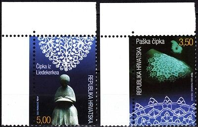 CROATIA 2002 Folklore. Handicrafts: Lace. Joint issue with Belgium. CORNER, MNH