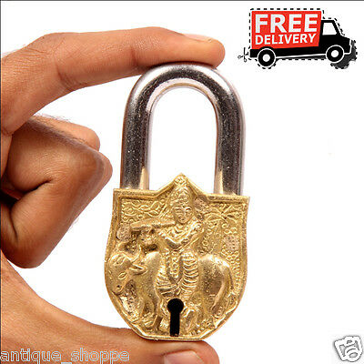 Brass Unique Handcrafted Lord Krishna Engraved / Embossed 2 Key Padlock 6905A
