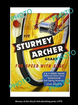 Old Large Historic Photo, Sturmey Archer Bicycle Hubs Advertising Poster 1970 1
