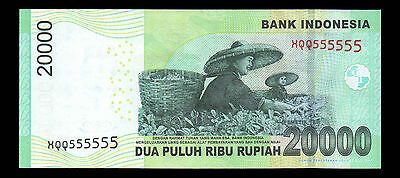 Indonesia Banknote 20000 Rupiah Solid Number Replacement XQQ 555555 - A305