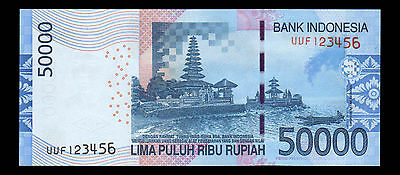 Indonesia Banknote 50000 Rupiah 2005/2015 Fancy Number UVF123456 - A306