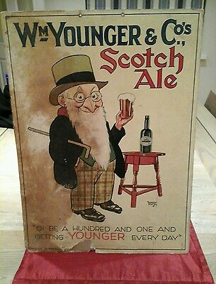 VINTAGE Wm YOUNGER & CO s SCOTCH ALE SIGN (cardboard)