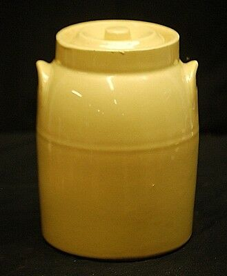 Old Vintage McCoy Stoneware Pottery Yellow Crock w Lid Kitchen Utensil Tool Decr