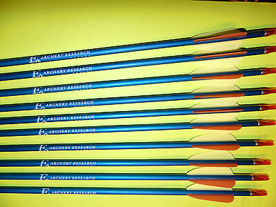 "SET: 10 Ek Archery Research Alupfeile 30"" Spine 475 + 2(Spitze+Nock+Insert)+wax"