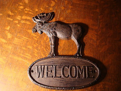 RUSTIC LODGE BROWN CAST IRON MOOSE LOG CABIN WELCOME SIGN Home Decor NEW