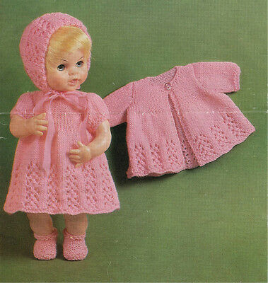 """Vintage Knitting Pattern Copy To Knit 14-16"""" Doll Outfit 1960's- Fits Baby Born"""