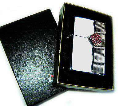 Zippo LUXURY DIAMOND WAVE PLATE with 25 CRYSTALS Special Edition SUPER RARE !