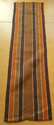 Swedish woven cotton runner, orange, olive, brown & white stripes, short version