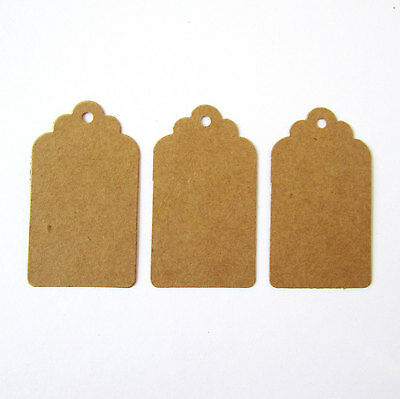 50 scalloped top edged brown kraft card decorative parcel gift tags - 30x60mm