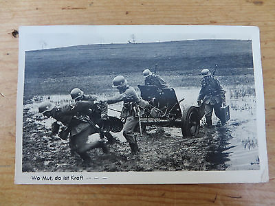 "Bildserie 3574 Wehrmacht Ww 2 German Rp Postcard - ""where There Is Courage"""