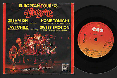 "7"" Aerosmith European Tour '76 Ep Made In Holland Dream On +3 Promo Cbs 33 Rpm"
