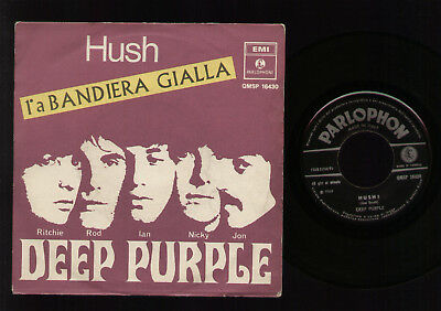 """7"""" Deep Purple Hush / One More Rainy Day Made In Italy Bandiera Gialla 1968"""