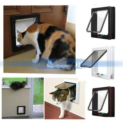 M Size Chatière Porte Trappe Blanc 4 Positions +8 Vis pour Chat Chien Animal Pet