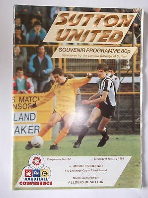 1987-88  Sutton United v Middlesbrough  FA Cup 3rd Round