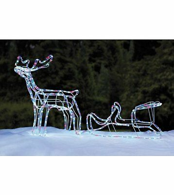 NEW 3-D Reindeer & Sleigh Rope Light Indoor/Outdoor 288 COLOUR LED Christmas