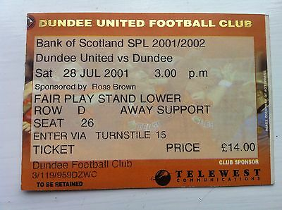 Dundee United (Utd) v Dundee FC 28/7/2001 official match ticket SPL
