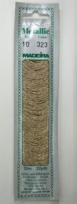 Madeira Perle No. 10 Metallic Hand Embroidery Thread, 20m Colour WHITE GOLD 323
