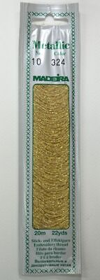 Madeira Perle No. 10 Metallic Hand Embroidery Thread, 20m Colour GOLD DUST 324