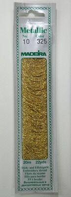 Madeira Perle No. 10 Metallic Hand Embroidery Thread, 20m Colour PURE GOLD 325