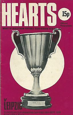 Hearts v Leipzig September 29th 1976 Cup Winners Cup football programme