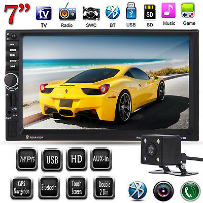 "2 Din 7"" HD Car Stereo GPS MP5 Player Bluetooth Touch Screen Radio FM + Camera"