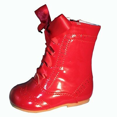 Baby Girls Isabelle Spanish Romany Style Red Ribbon Lace  Patent Boots by Sevva