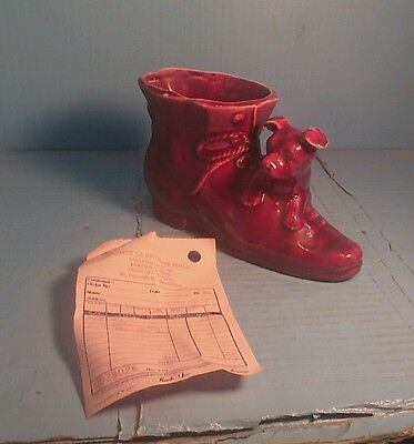 "Vintage Shawnee Art Pottery - Dog with Shoe / Boot Planter Red 8""x4.5"""
