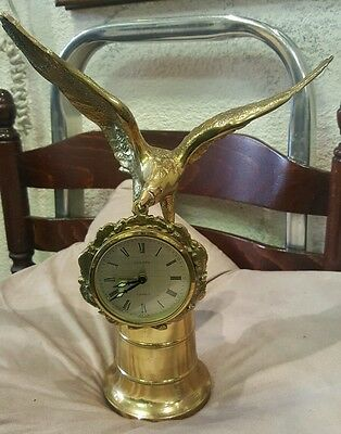extremely rare europa clock hanging from brass eagle in flight on football