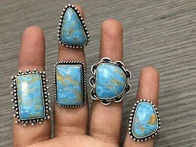 WHOLESALE LOT 5 pcs COPPER TURQUOISE STONE.925 SILVER PLATED RINGS 47 GMS