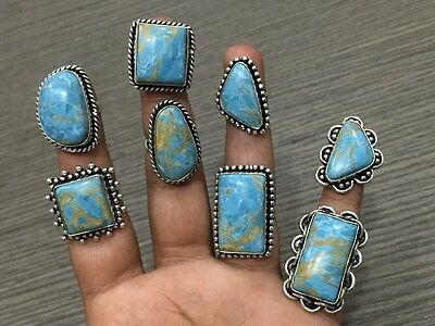 WHOLESALE LOT 8 pcs COPPER TURQUOISE STONE.925 SILVER PLATED RINGS 70 GMS